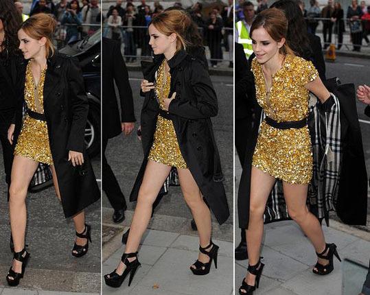 emma watson burberry fashion show gold shimmer dress.JPG